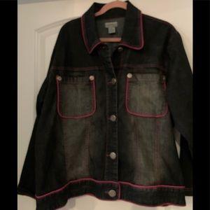 Denim/Hot pink jean jacket